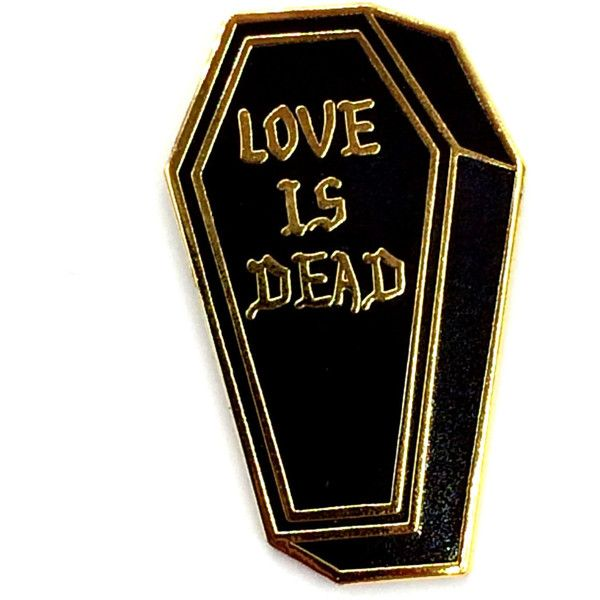 Love is Dead- Hard Enamel Black and Gold Lapel Pin Brooch- more sizes... (€11) ❤ liked on Polyvore featuring jewelry, brooches, enamel jewelry, black and gold jewelry, pin brooch, enamel brooch and pin jewelry