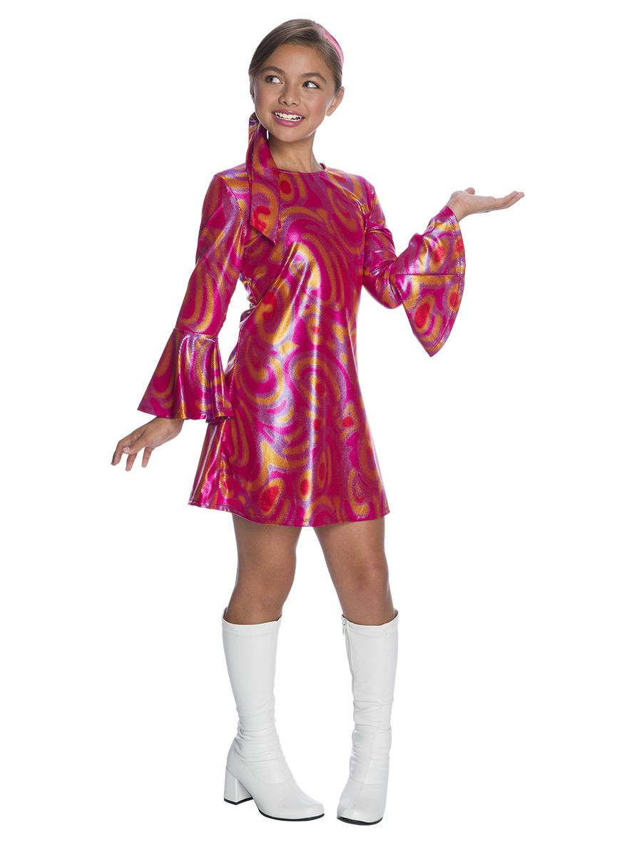Details about  /Girl/'s Pink Disco Dress Costume