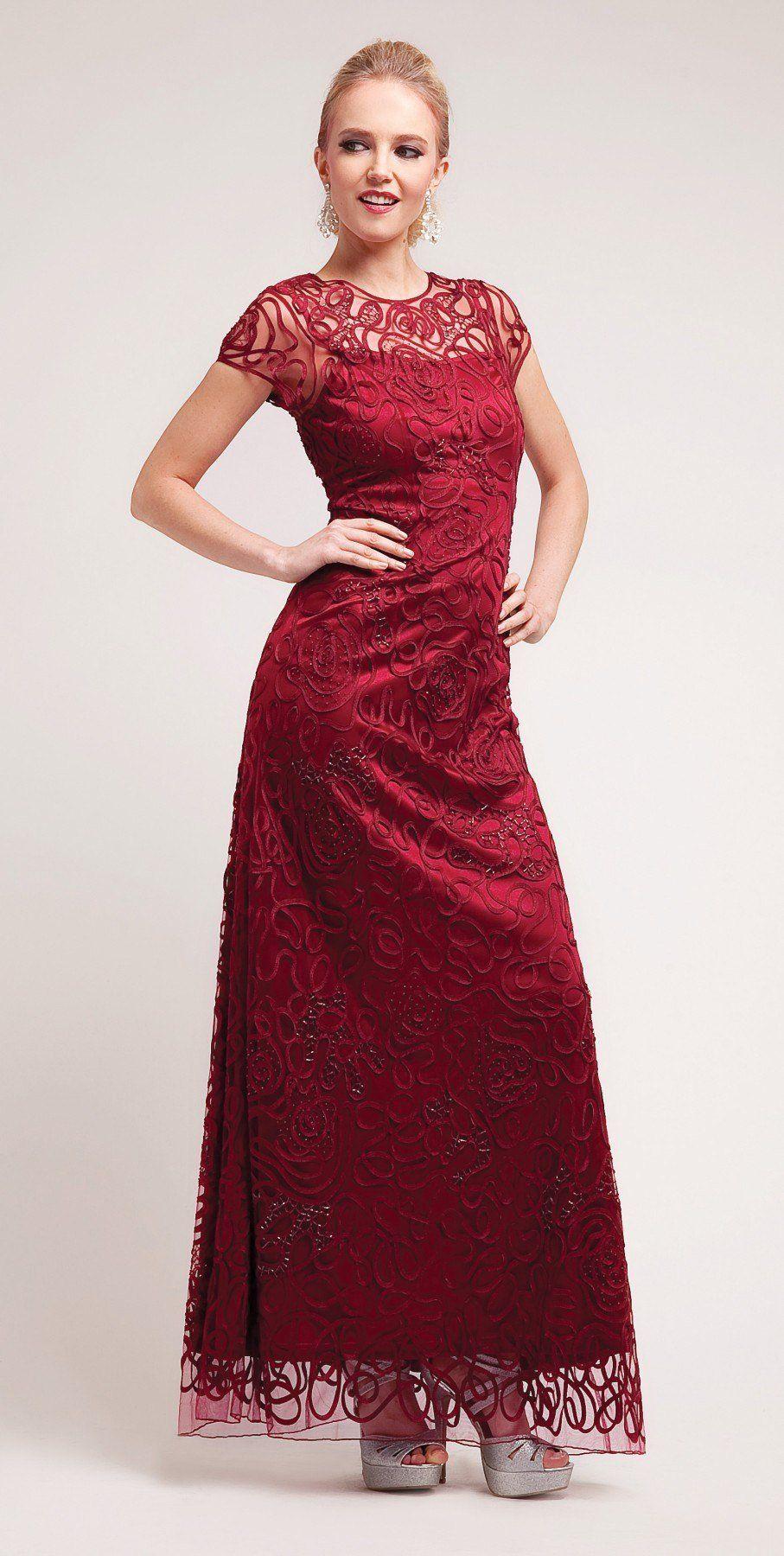 Semi Formal Long Lace Burgundy Dress Tea Length Short Sleeve | Tea ...