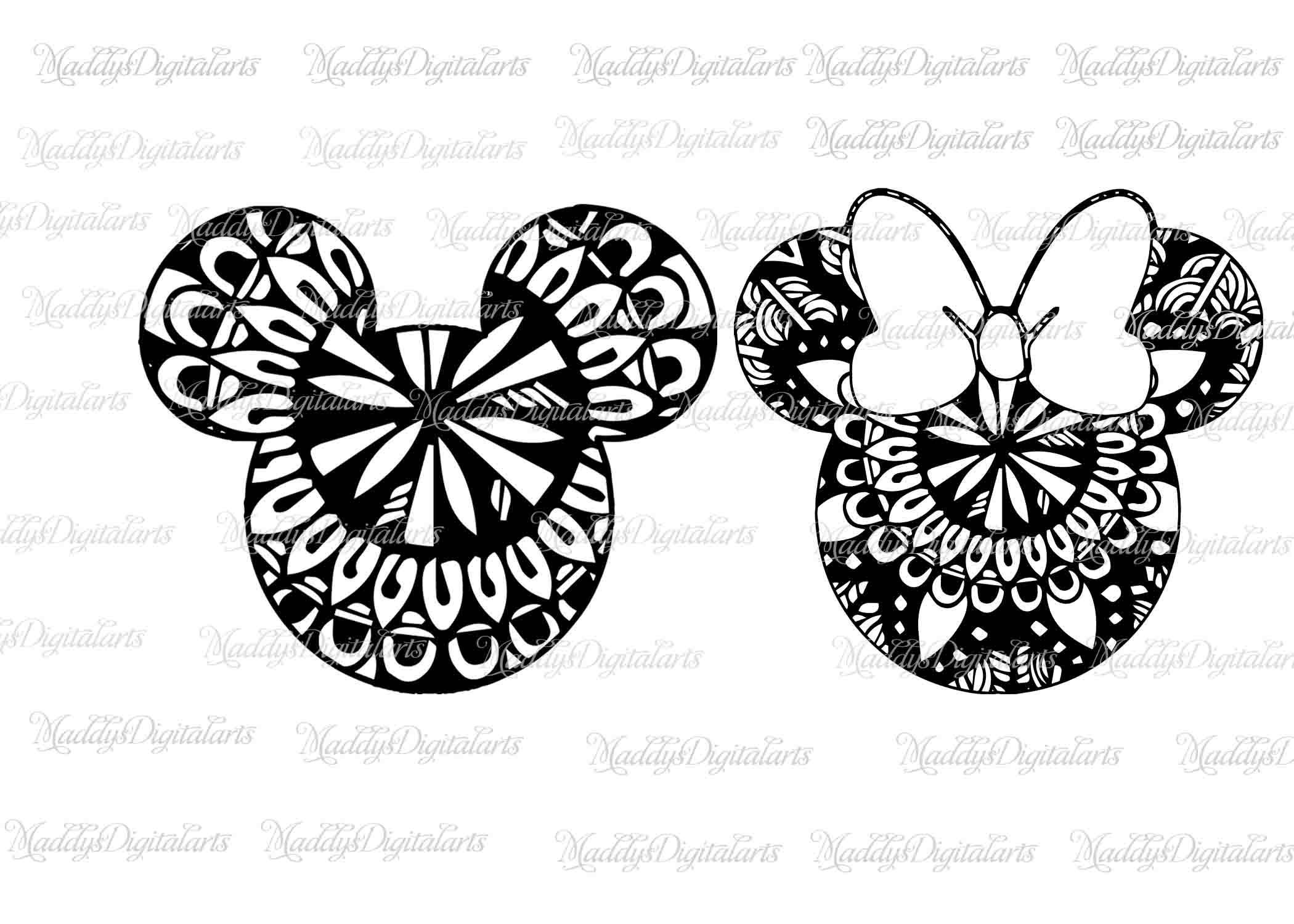 Mickey Mandala Mouse SVG File, Minnie Mandala Svg, Vinyl
