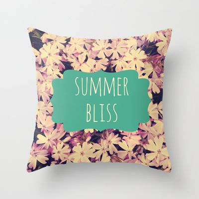 Summer Bliss Throw Pillow     #pillow #pillowcase #bedding #summer #bliss #flowers #floral #pillowcover #cover #purple #teal #white #society6 #decor #home #dorm #bedroom #couch #sofa