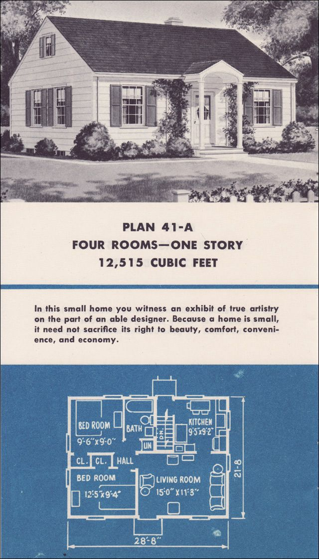 1950 Weyerhaeuser 41 A Sweet House Plans A Frame House Plans Bungalow House Plans