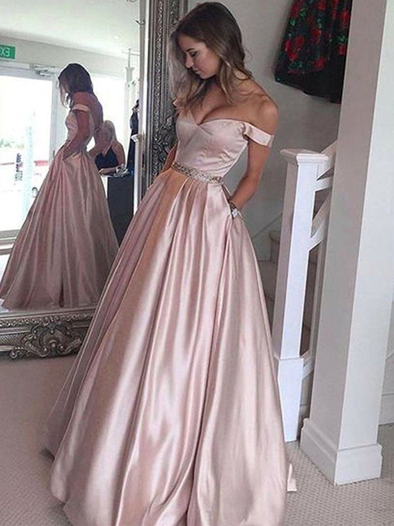 82a1309365e Elegant Off shoulder Floor Length Pink Satin Prom Dress