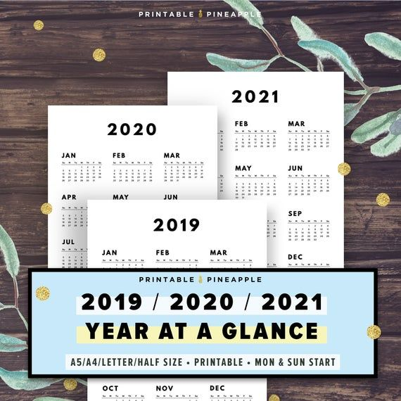 2020-2021 Year at a Glance Calendar Printable Yearly ...