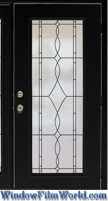 Allure Leaded Glass Look Privacy Window Film With Black Leading