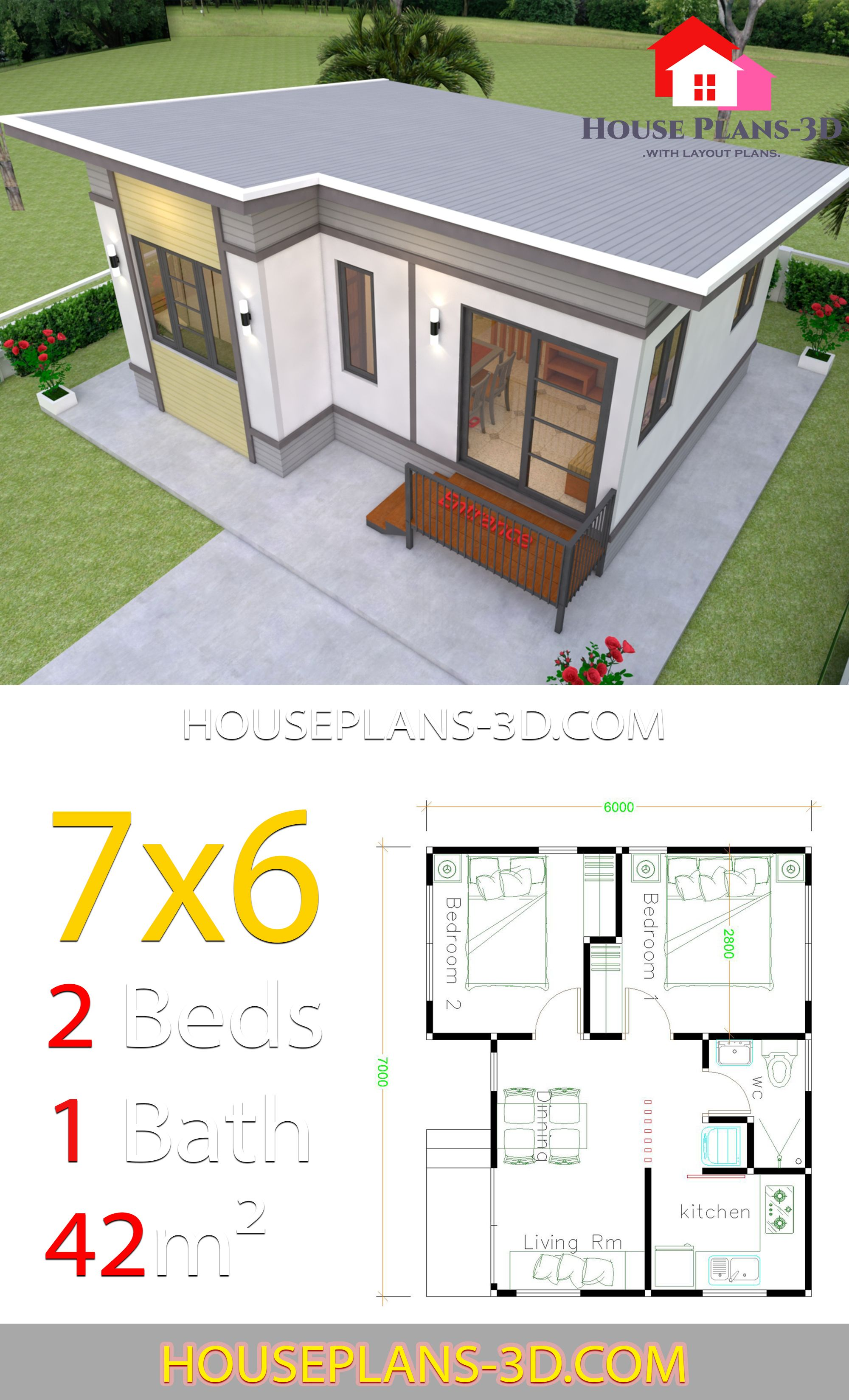 Small House Plans 7x6 With 2 Bedrooms In 2020 House Plans Small