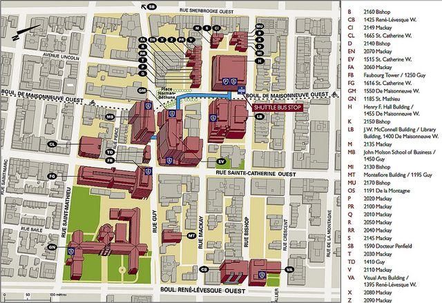 Concordia Campus Map SGW campus map. Concordia University has two campuses, set