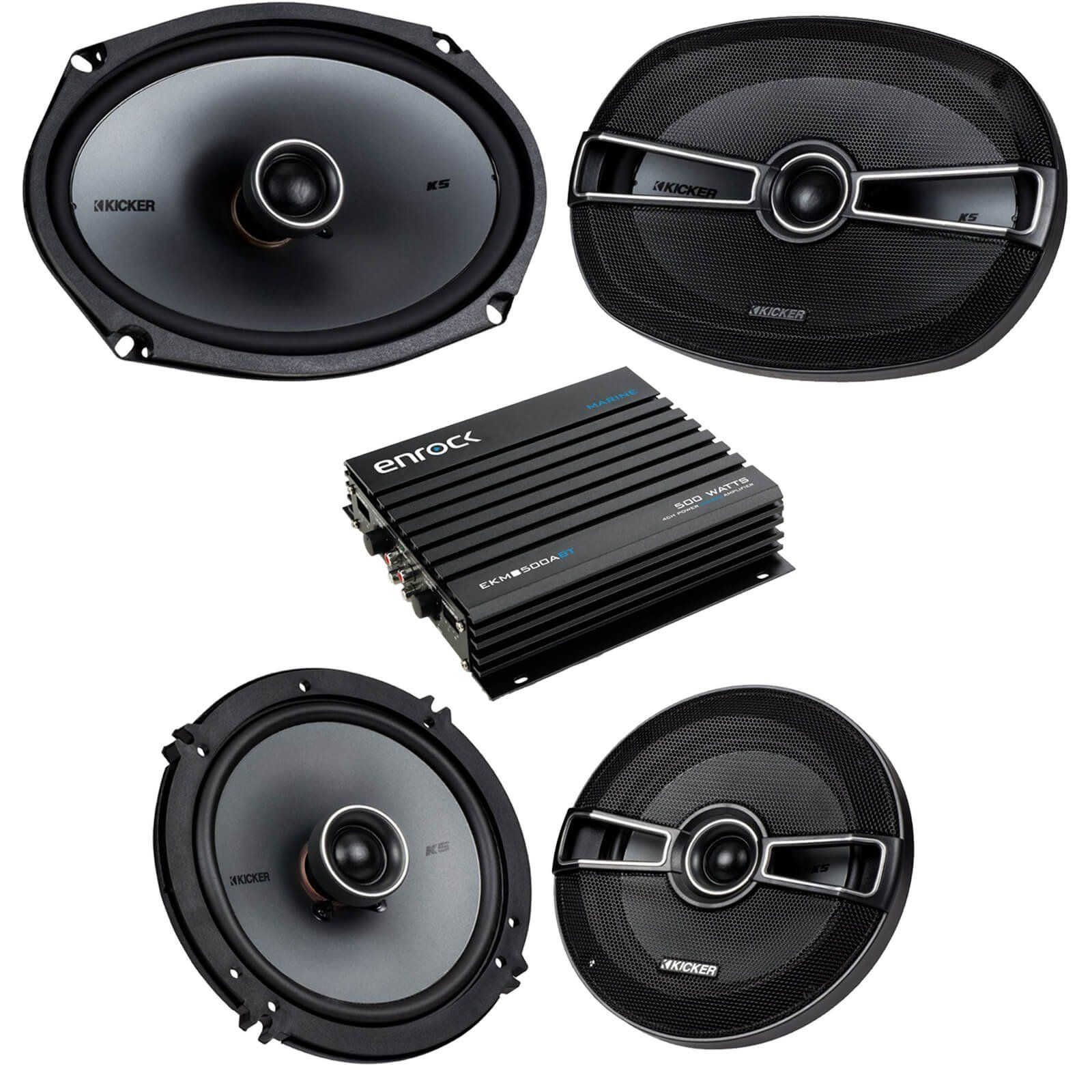 Car Speaker Bluetooth Streming Set Bundle Combo With 2 Kicker Polk Audio Subwoofer Wiring Kits 41ksc654 65 Inch Way Vehicle Stereo Speakers 41ksc694 6x9 System