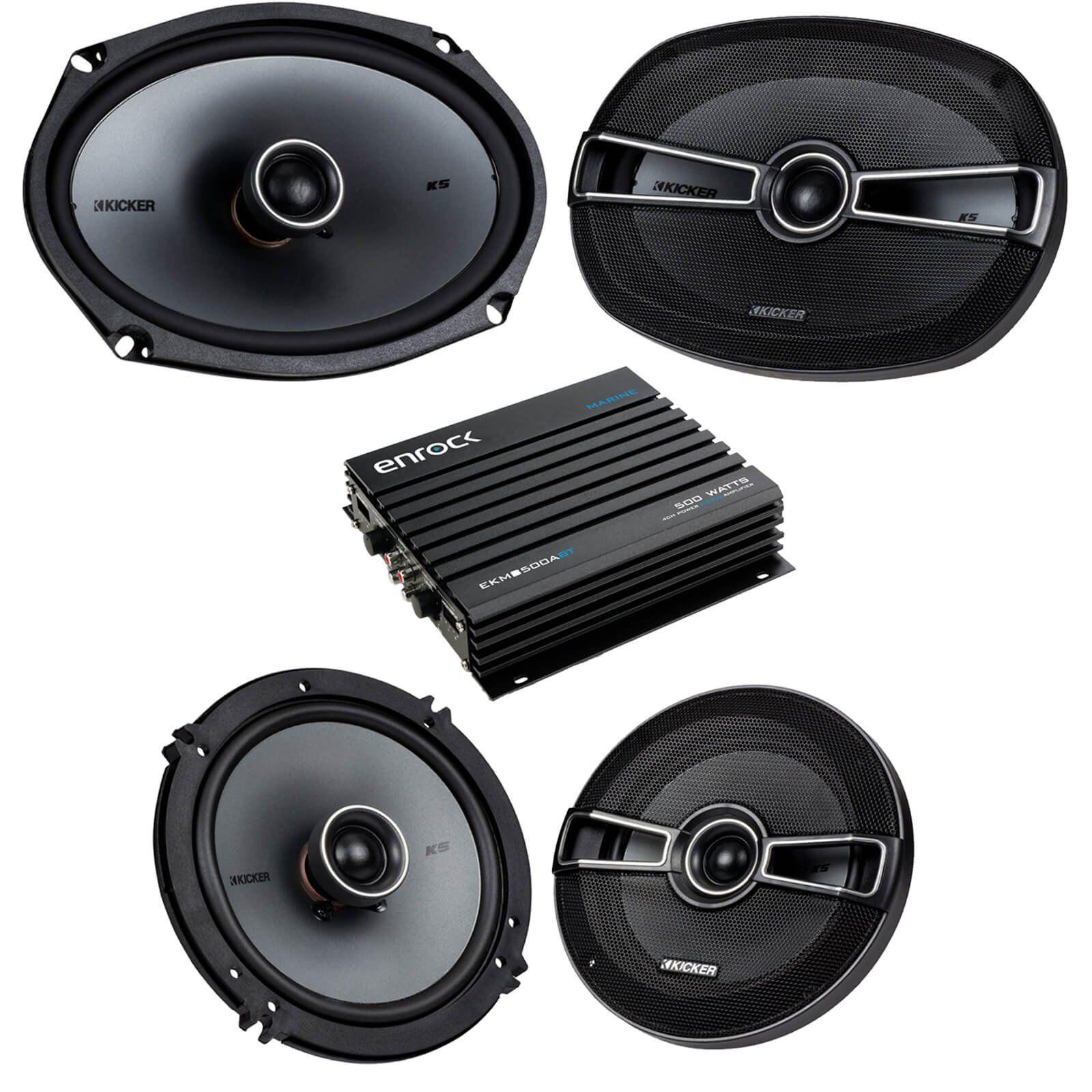 car speaker bluetooth streming set bundle combo with 2 kicker 41ksc654 6 5 inch 2 way vehicle stereo speakers 2 kicker 41ksc694 6x9 car speaker system  [ 1600 x 1600 Pixel ]