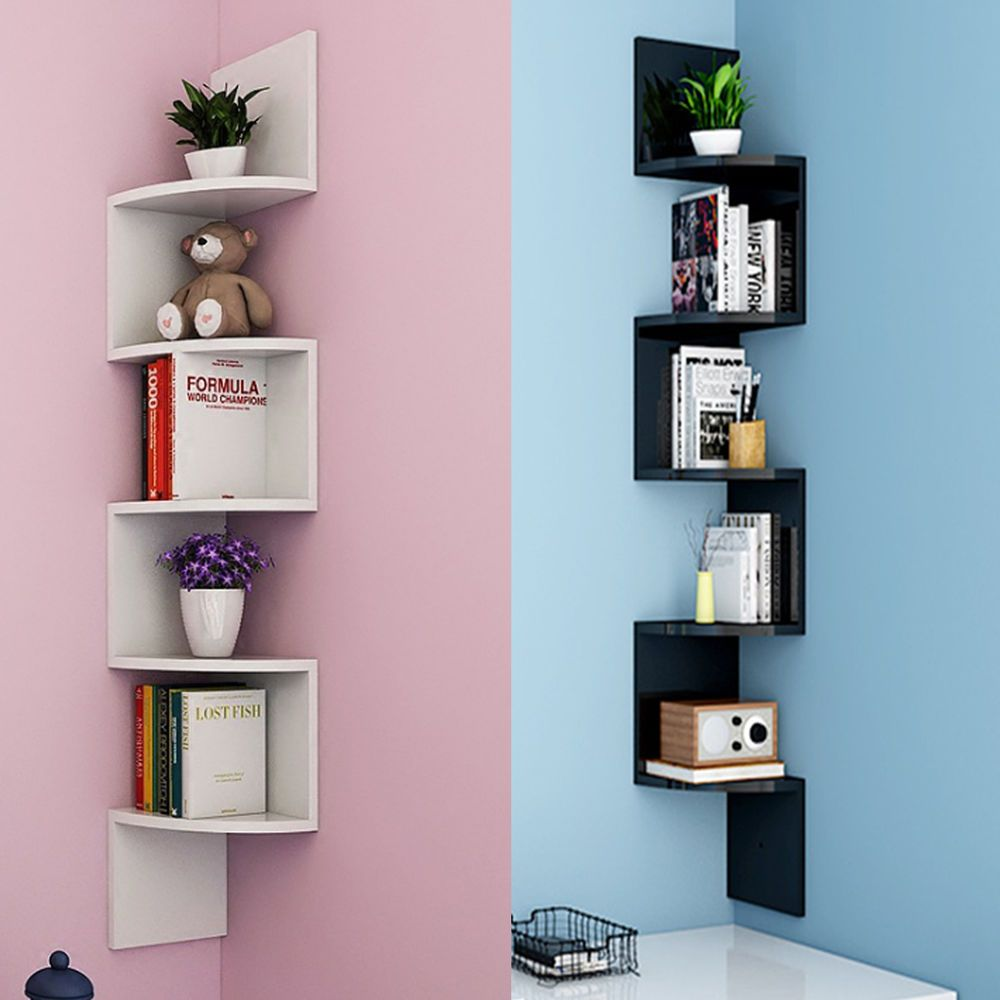 Details About 5 Tiers Corner Shelf Floating Wall Shelves Storage Display Books Home Decoration Corner Decor Floating Wall Shelves Wall Shelves Design