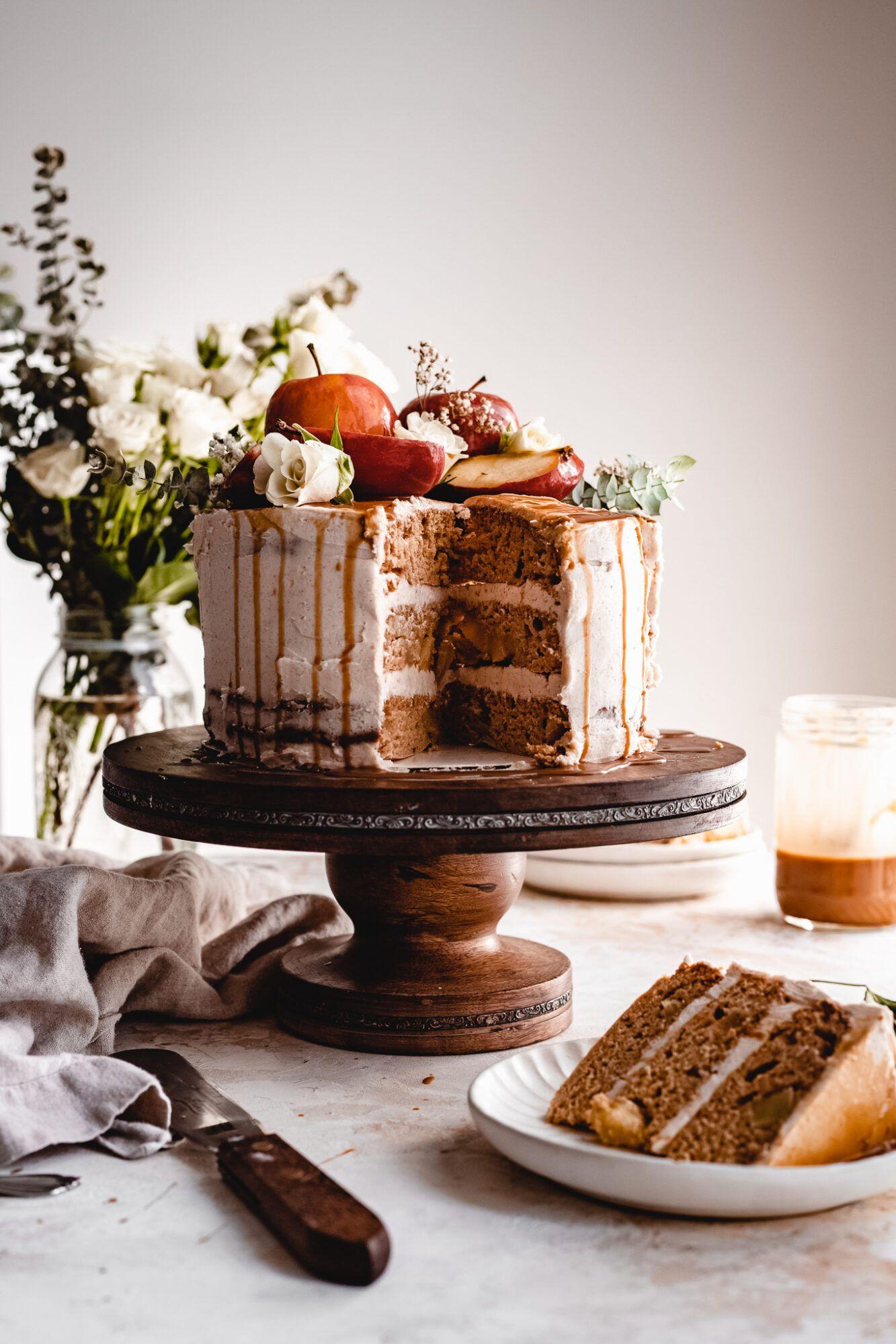Vegan Apple Spice Cake With Cinnamon Caramel Frosting The Banana Diaries Recipe In 2020 Apple Spice Cake Apple Spice Cake Recipe Cinnamon Recipes