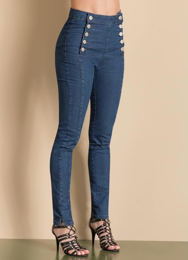 c752328c3 Calça jeans com botões | Calças | Jeans, Skinny Jeans e Pants