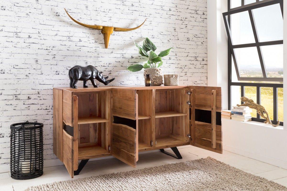 Wohnzimmer Massivholz Dekoration : Wohnling sideboard satara wl aus akazie massivholz
