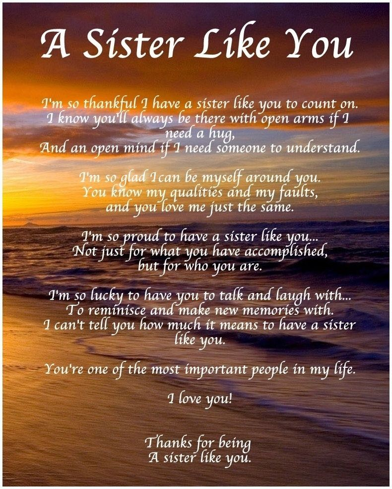 Details about Personalised A Sister Like You Poem Birthday