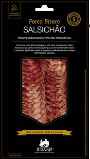 Salsichão de porco bísaro criado em campo, 5 meses de cura, fatiado 100 gr