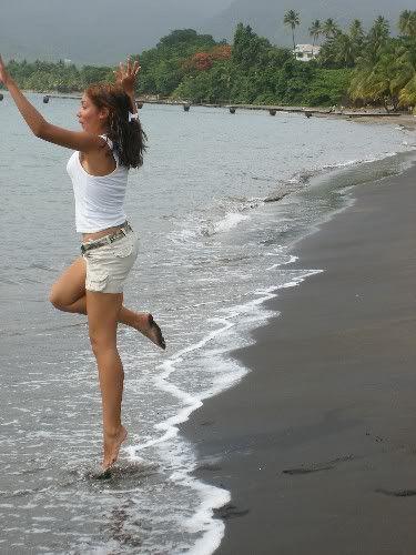 Dominica black sand beach