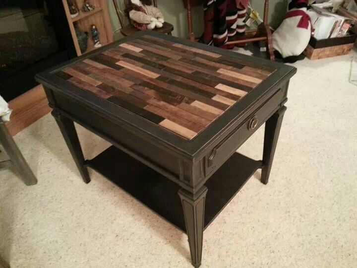 Paint stick table top   Salvage Style   Table, DIY ...