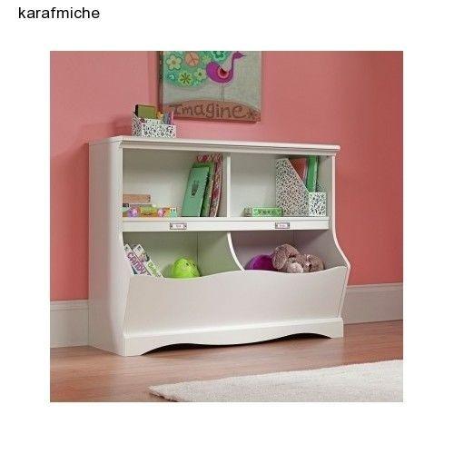 Toy Storage Bins Bookcase Combo Playroom Organizer White Finish Kids  Furniture #Sauder