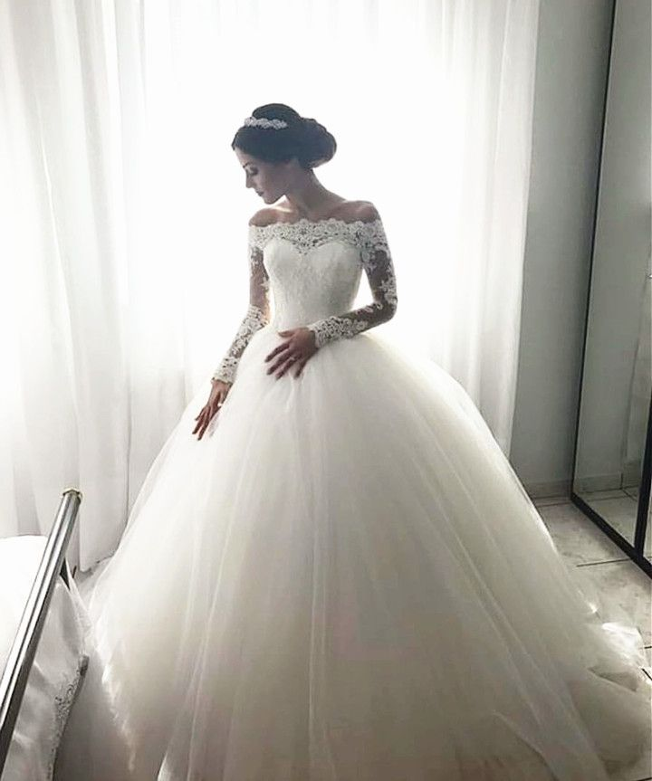 Lace Long Sleeves Tulle Ball Gowns Wedding Dresses Off The