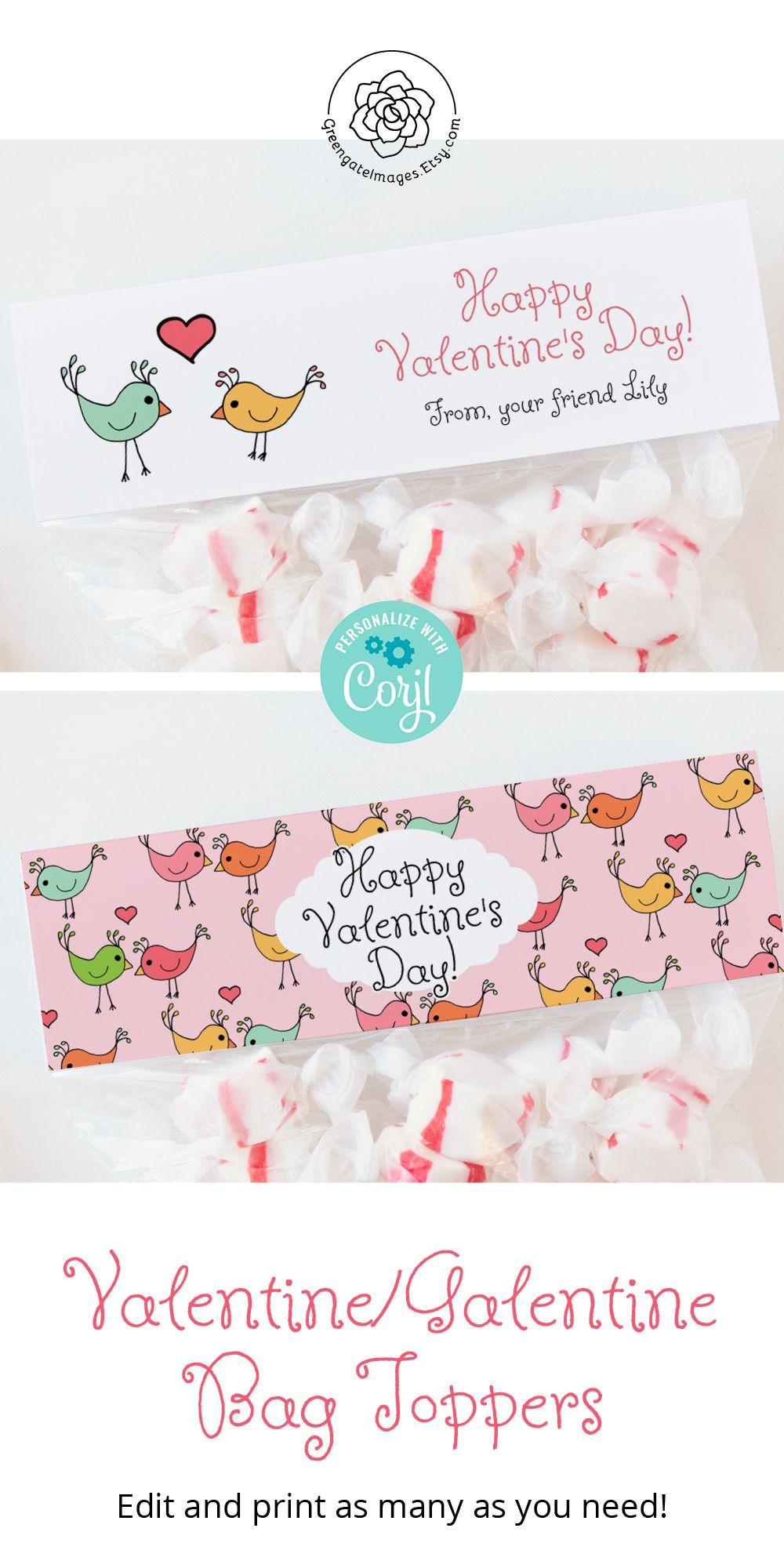 Foldover Bag Label PRINTABLE sandwich bag card Corjl Ziplock Topper goodie bag ideas Snack Bag Topper Valentine/'s Day Bag Toppers