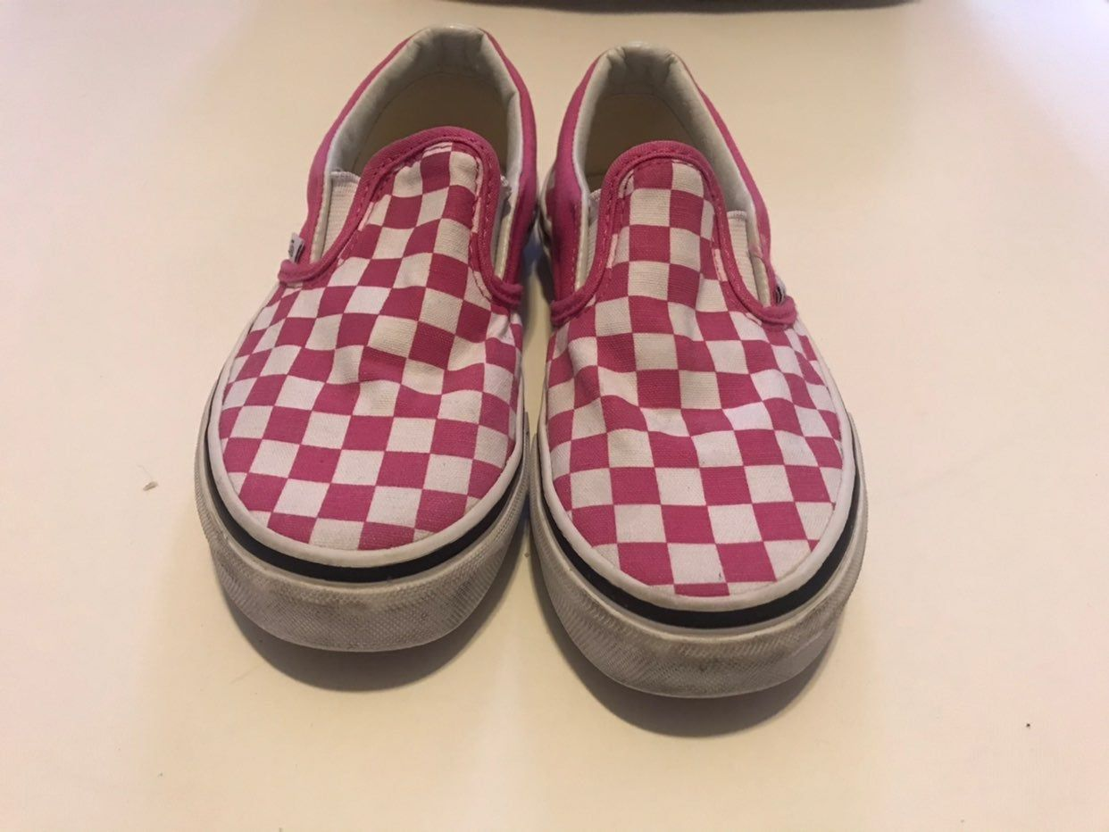 Girls Pink slip on vans size 1 Good