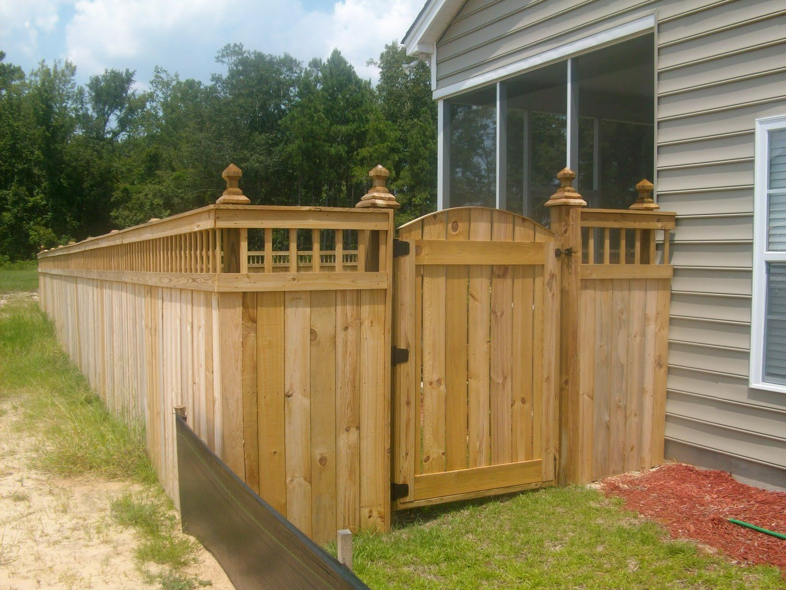 Unique Privacy Fence Ideas | Spindle Lattice Moss Grove Fence Gate Design  Custom Moncks Corner .