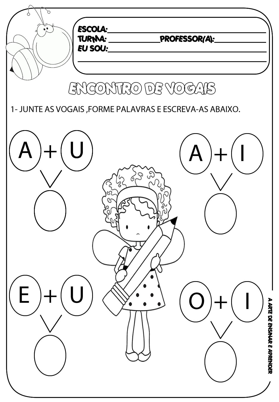 Atividade pronta - Encontro vocálico   Zeichen und Buchstaben