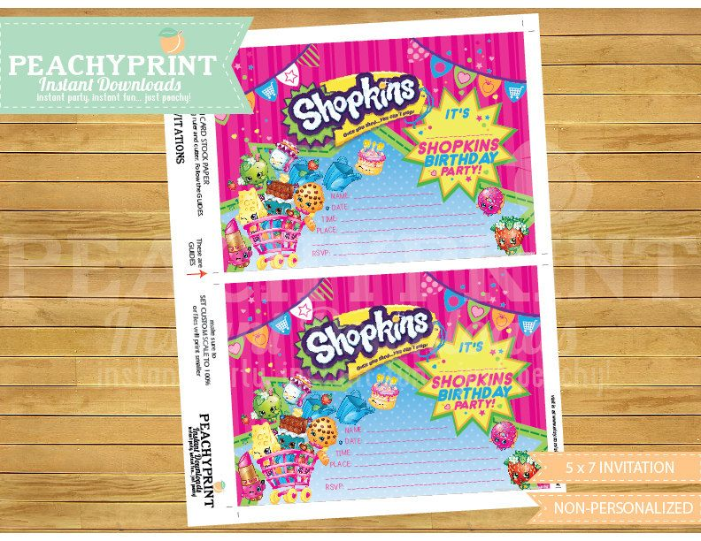 Shopkins Birthday Invitation Instant Download Shopkins - Blank shopkins birthday invitations