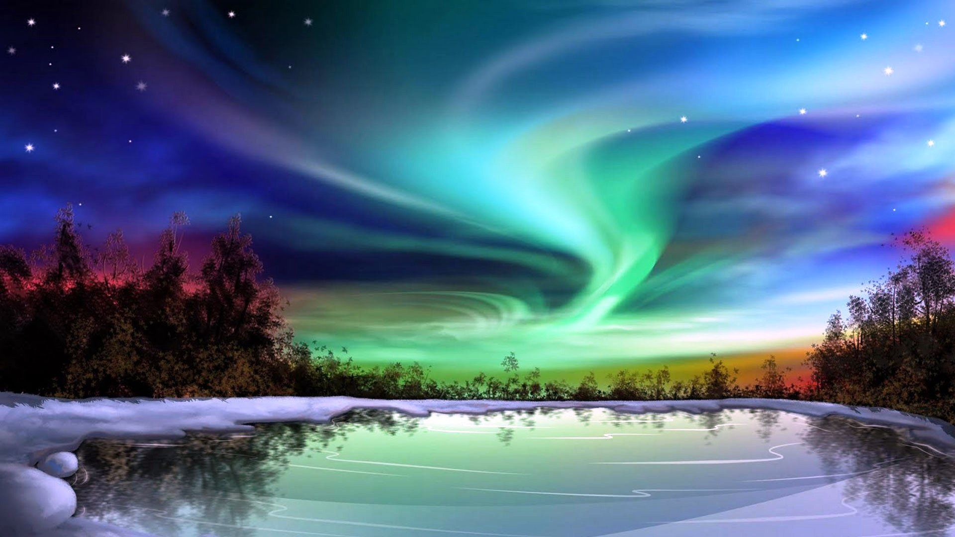 Northern Lights On Snow Amazing View Of Nature Free Download Hd Northern Lights Alaska Northern Lights Northern Lights Photo