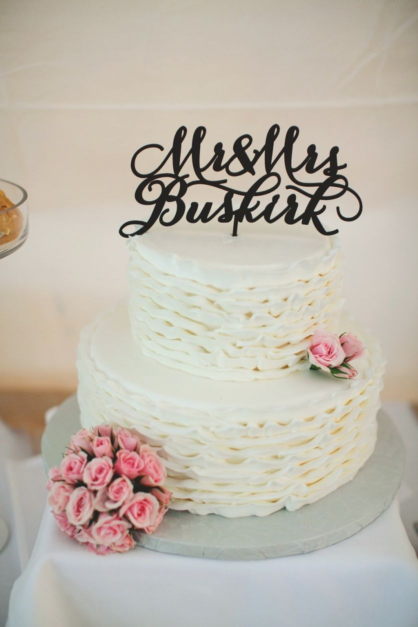Ruffled Wedding Cake With Mr And Mrs Wedding Cake Topper