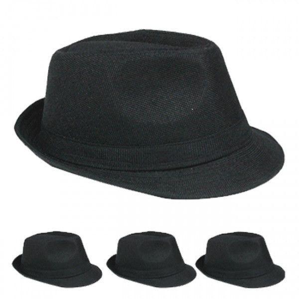 plain black casual fedora hat Case of 72