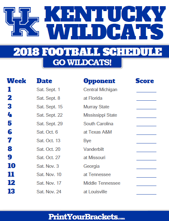 2018 Printable Kentucky Wildcats Football Schedule Kentucky