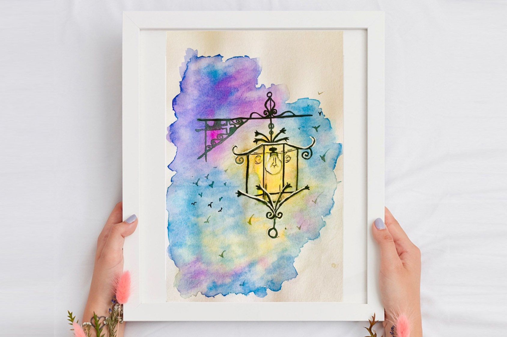 Street Lamp Painting Beautiful Watercolor Painting Gifting Ideas