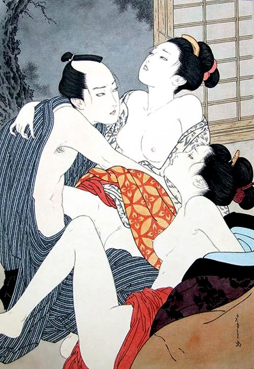 Женщина в японской бане соло