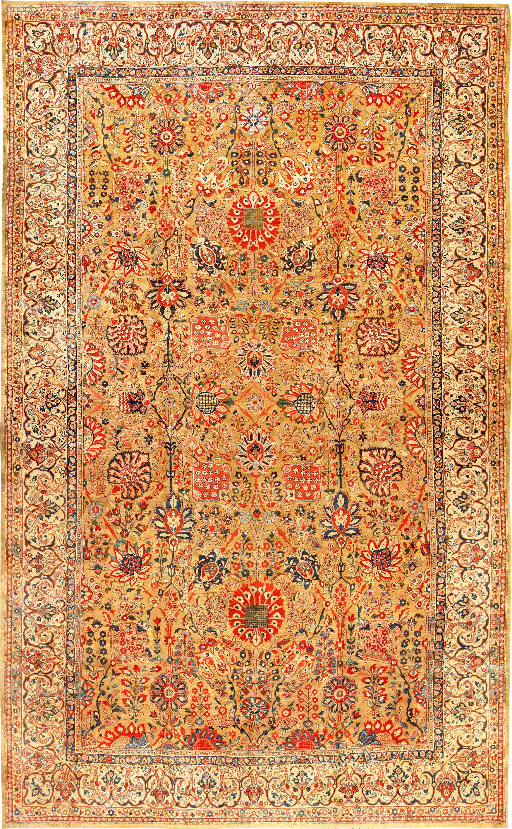 Gold Background Antique Persian Sarouk Farahan Rug Price 86 000 00 Size 13 Ft X 20 6 In 3 96 M 25