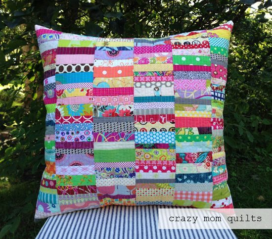 scrap happy pillow (with tutorial link) (crazy mom quilts)