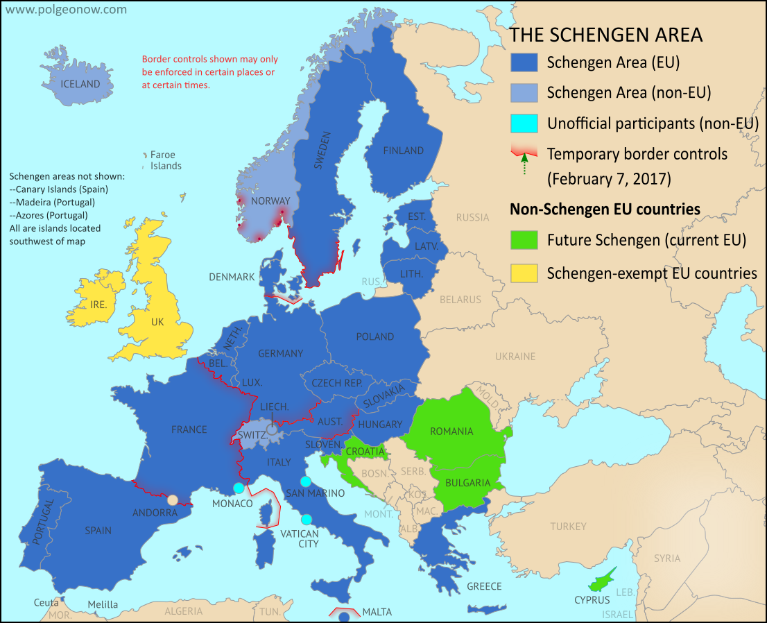 Schengen border controls in february 2017 map of free travel schengen border controls in february 2017 map of free travel restrictions gumiabroncs Images