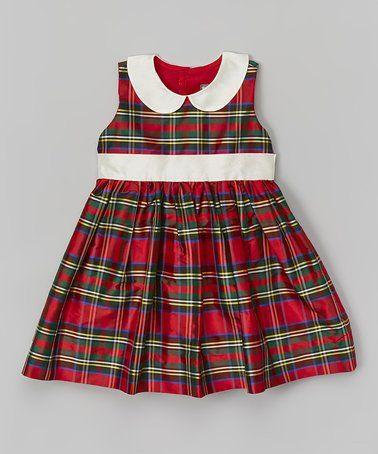 Look what I found on #zulily! Red Plaid Silk Dress - Infant #zulilyfinds