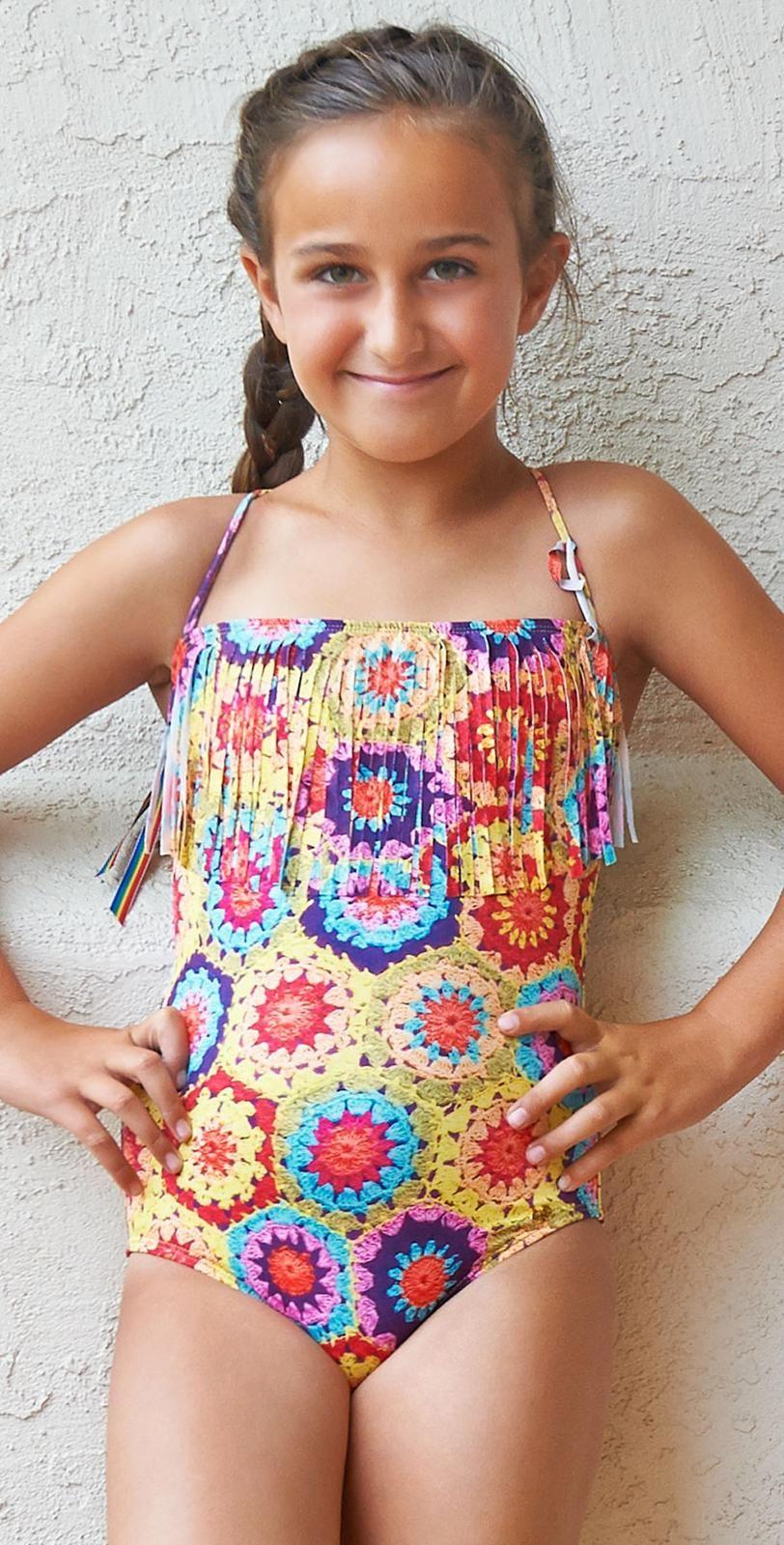 6af95b39259bf PilyQ Girls Crochet Fun Fringe Bandeau One Piece CRO-621P | Kids ...