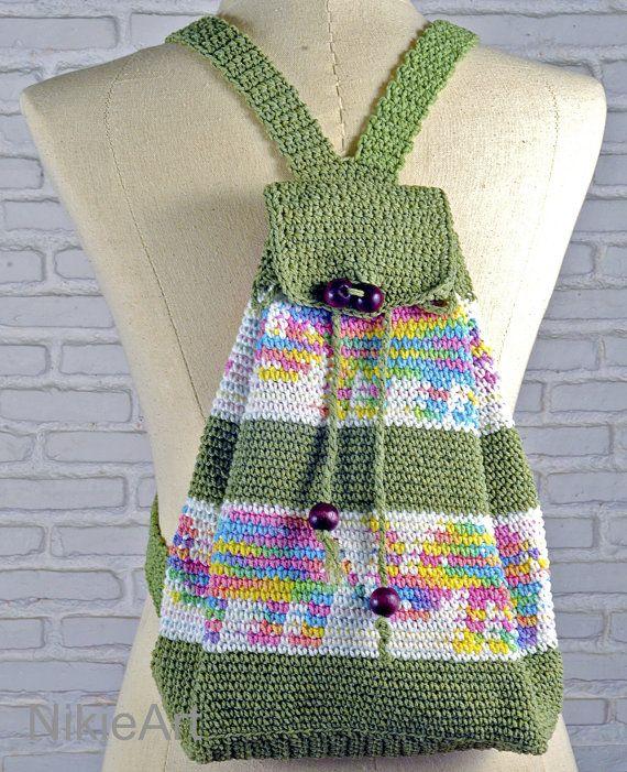 Eco friendly Crochet backpack Casual woman bag 100% by NikieArt