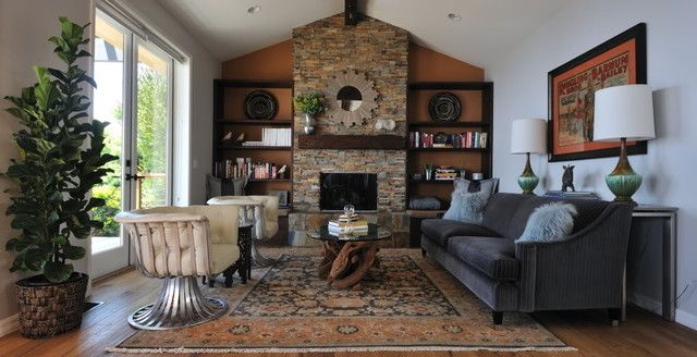 Modern Rustic Living Room Eclectic Orange Rooms Gray And