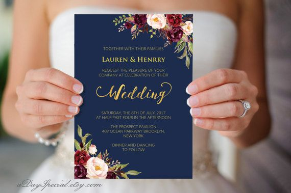 printable navy wedding invitation burgundy boho floral gold foil wedding invitation template double sided vistaprint diy pdf download 109