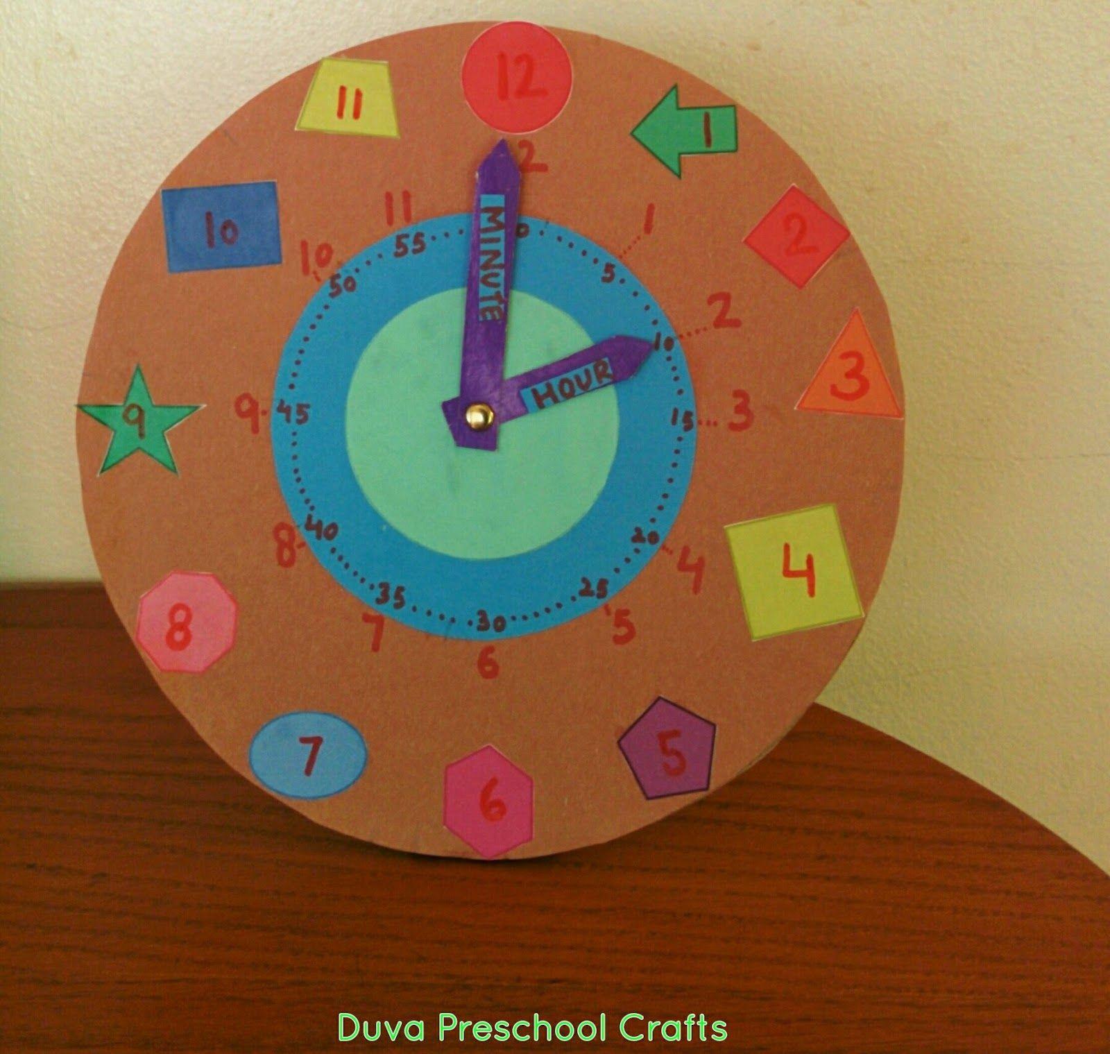 Duva Preschool Craft Ideas Shape Clock For Preschoolers