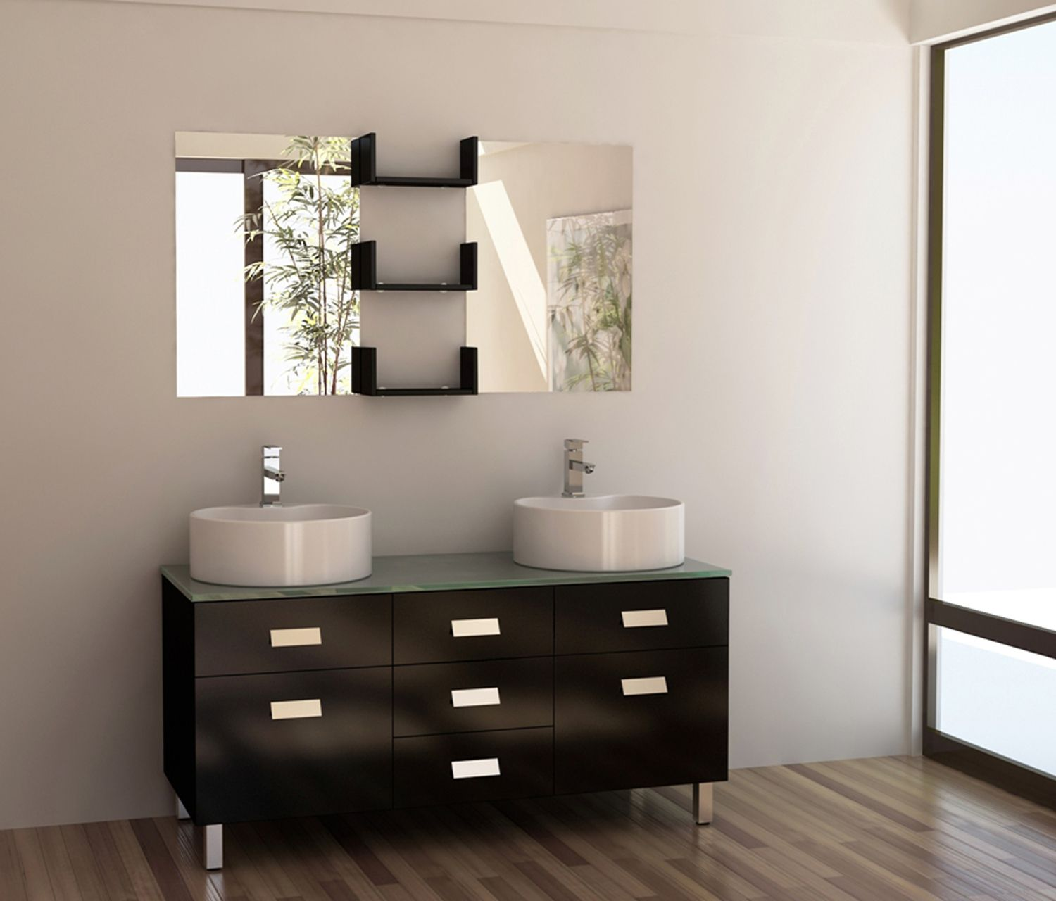 Design Element Wellington 55 Double Sink Vanity Set In Espresso