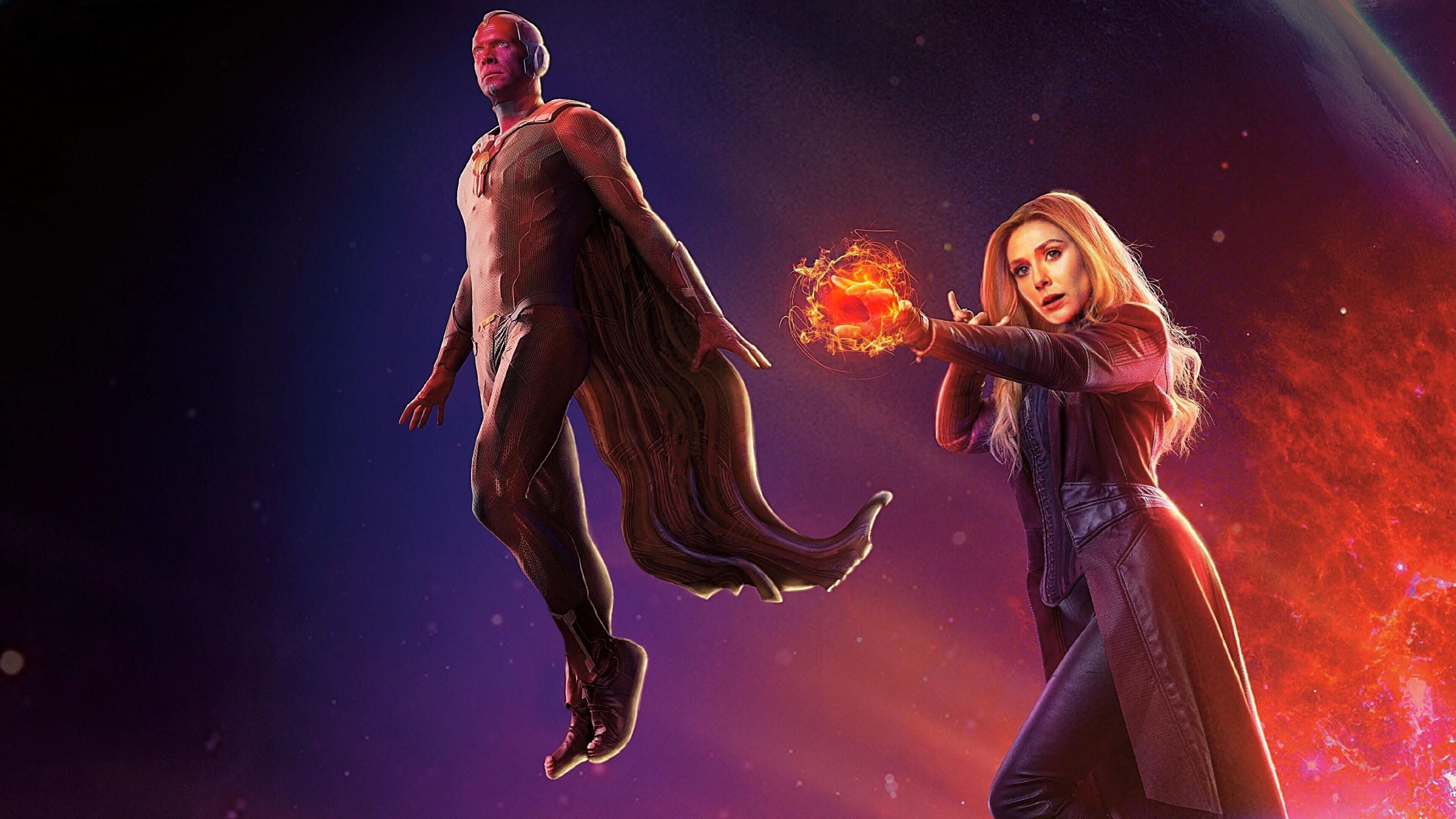 Avengers Infinity War Scarlet Witch And Vision 4k Wallpaper Witch Wallpaper Marvel Background Scarlet Witch