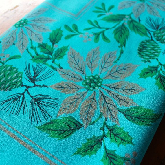 Vintage Christmas Tablecloth Linen Teal Blue Green By KerryCan
