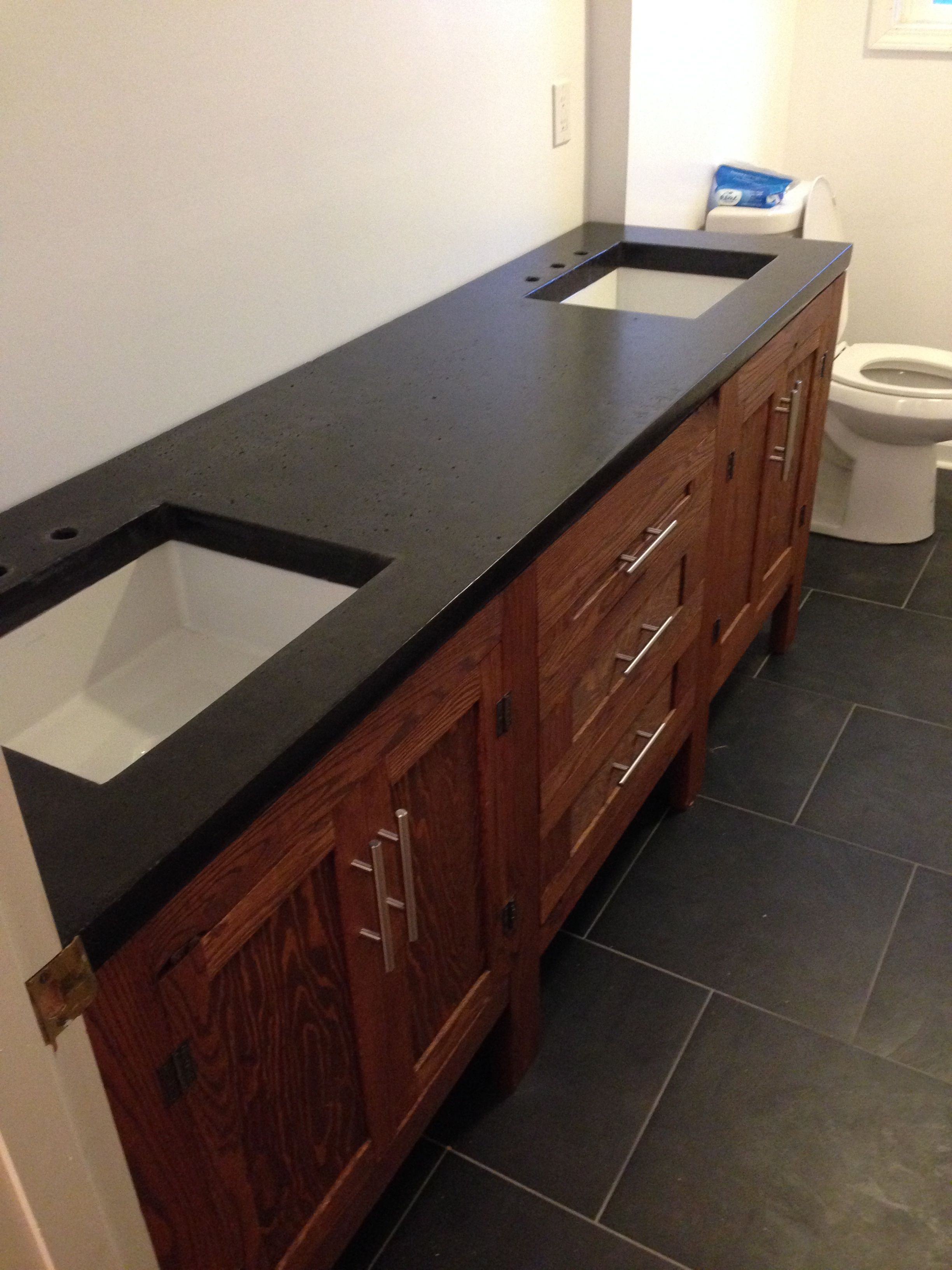 Laminate Bathroom Countertops: Red Oak Bathroom Vanity With Concrete Counter Tops And
