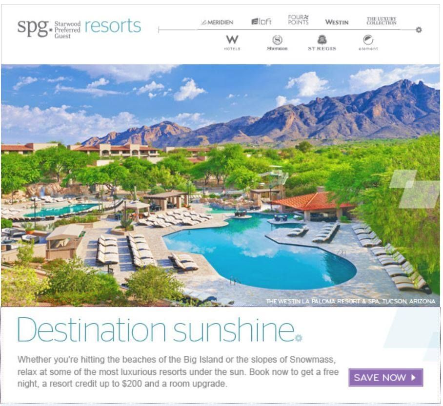 Destination Sunshine! Who wouldn't love a nice day in the sun these days? Our designers sure love working on these travel campaigns! http://offers.starwoodpromos.com/en/sunsational