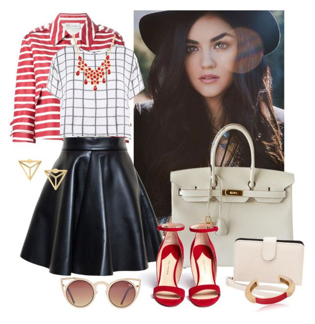 """""""Karla"""" by reginabarnes ❤ liked on Polyvore featuring RED Valentino, MSGM, Hermès, Myne, Charlotte Russe, Paul Andrew, Pluma and Quay"""