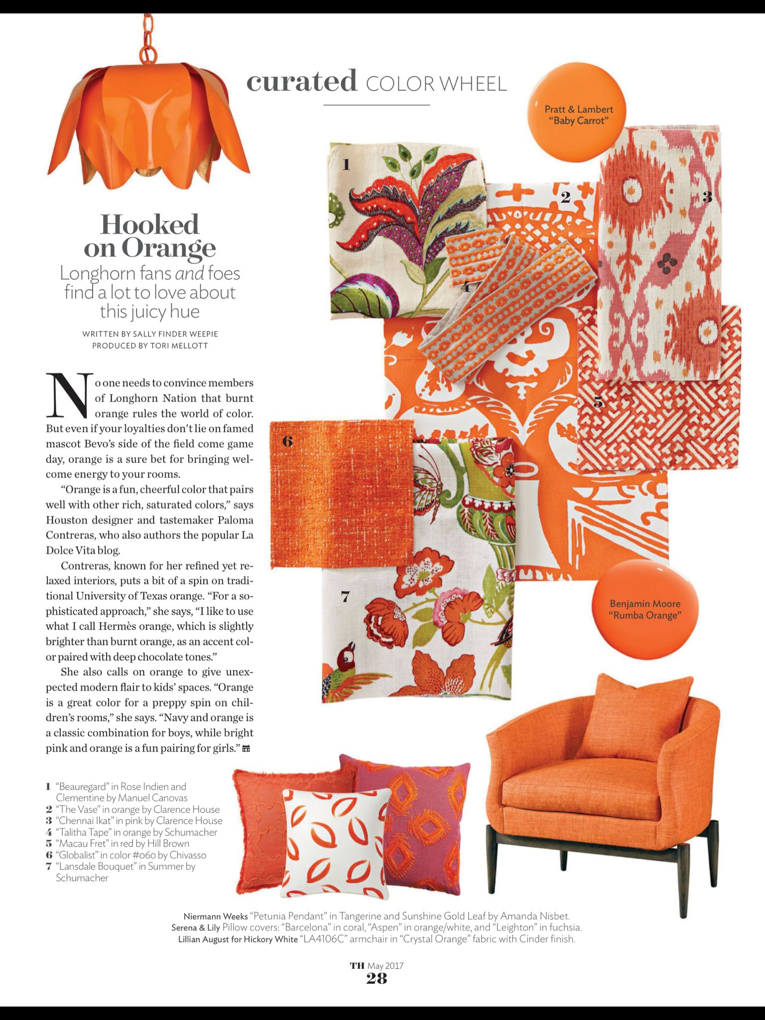 """""""Hooked on Orange"""" from Traditional Home, May 2017. Read"""